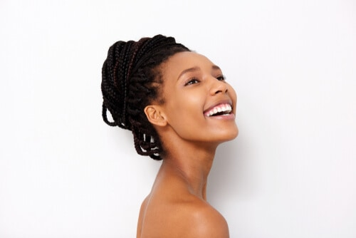 smiling woman with beautiful straight white teeth