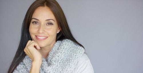 female botox patient smiling
